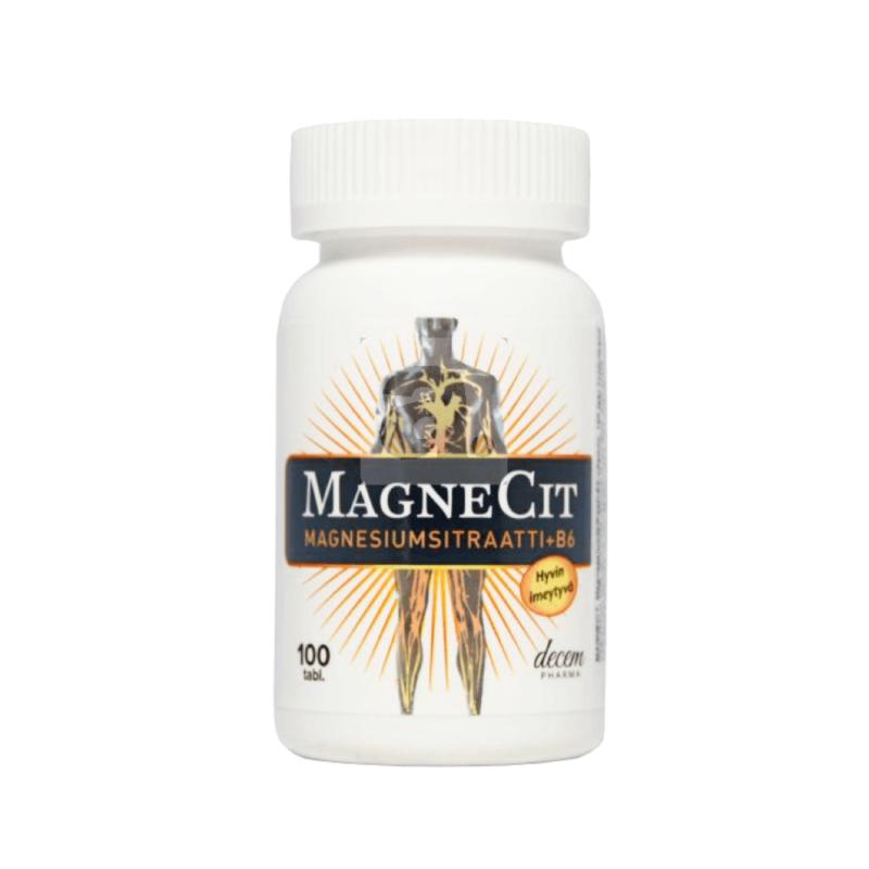 MAGNECIT + B6 magneesiumi tabletid 100tk (magneesiumtsitraat + B6-Vitamiin)